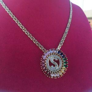 "Multi color stone ""S"" initial pendant"